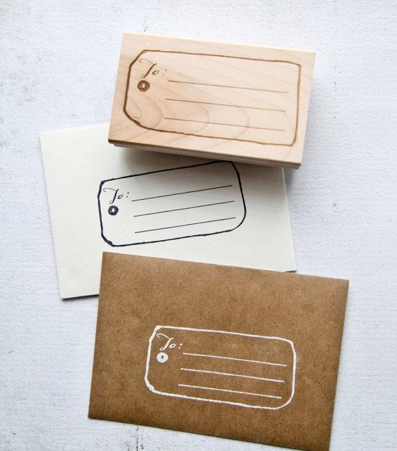 زفاف - Gift Tag Address Rubber Stamp