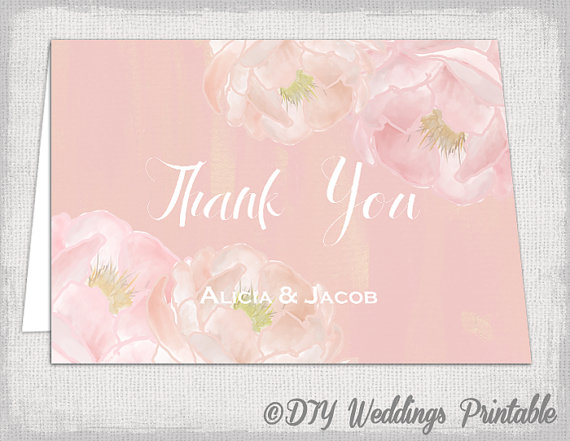 Thank You Card Template DIY Peony Dream Printable Pink Wedding Notes Flower Blush Watercolor Edit Instant Download