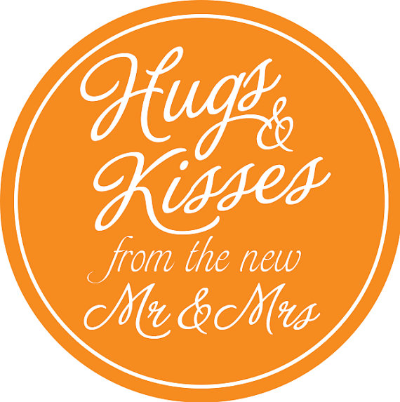"Mariage - 100 2"" Round Labels- Hugs and Kisses from the Mr & Mrs- Wedding Favor Stickers"