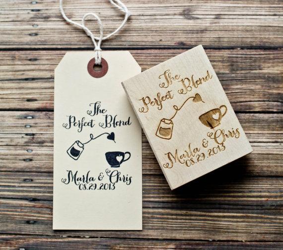 زفاف - Customized The Perfect Blend Wedding Coffee/Tea Favor Stamp