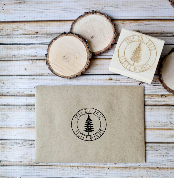 Mariage - Customized Woodland Save the Date Winter Wedding Invitation Rubber Stamp