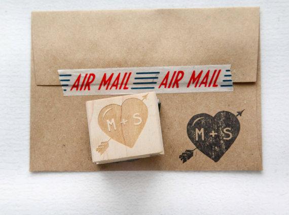 زفاف - Custom Heart with Arrows and Initials Save the Date Wedding Invitation Envelope Stamp