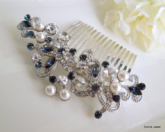 Mariage - Something Blue Bridal Hair Comb,Pearl Bridal Hair Comb,Ivory or White Pearls,Rhinestone Hair Comb,Swarovski Bridal Hair Comb,Pearl,Blue,NAYA