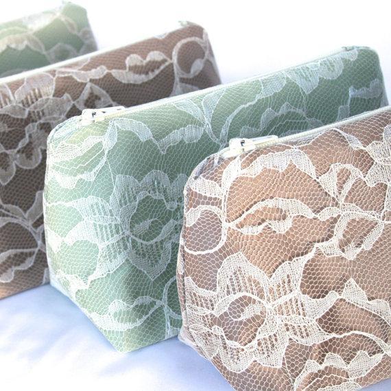 Wedding - Six Bridesmaid Gifts: Lace Cosmetic Bags, Bulk Order Pricing, Custom Wedding Colors, Wedding Favor, Clutch, Makeup Bags Bulk