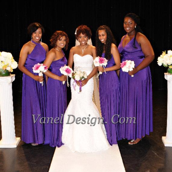 زفاف - Bridesmaid Dress, One Dress Endless Styles - INFINITY Bridesmaids Dress  CUSTOM Designed CONVERTIBLE Bridesmaids Dress Long Mulberry Purple