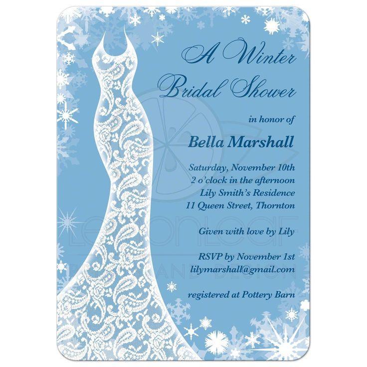 Свадьба - Bridal Shower Invitation - Beautiful Winter Ice Blue