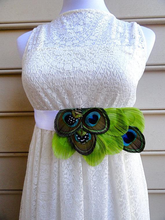 Mariage - CARLY Peacock Feather Flower Bridal Wedding Sash