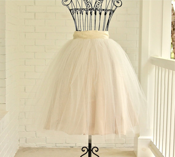 Mariage - tea length skirt, Champagne Tutu, ivory tutu, chic tutu, WEDDING Bridesmaids Mother of the Bride Special Occasions
