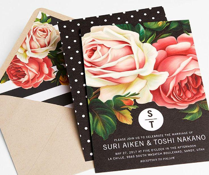 زفاف - Brushed Petals - Signature White Wedding Invitations In Pearl Or Black
