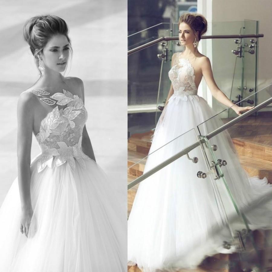 Princess Nurit Hen Wedding Dresses One Shoulder Sequins Sheer Strap ...