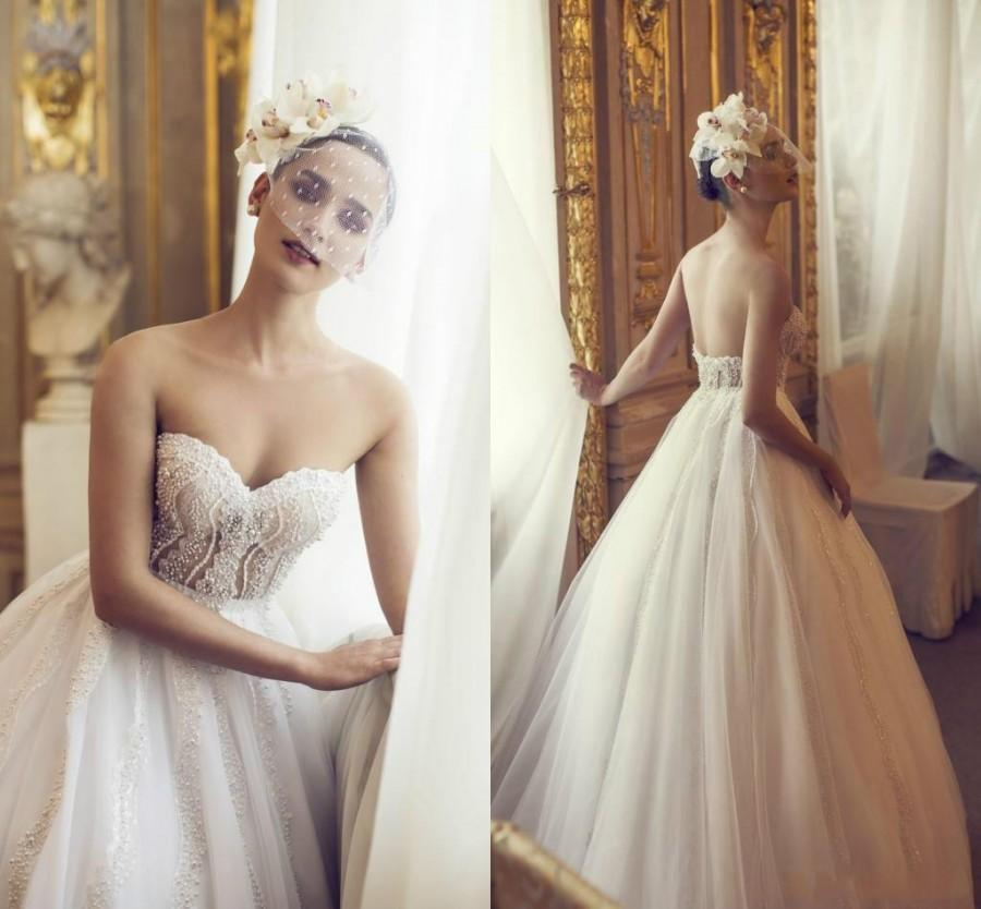 Wedding - Charming Beads Wedding Dresses Nurit Hen 2016 A-Line Sweetheart Sexy Pearls Tulle Israel Beautiful Bridal Ball Gowns with Chapel Train Online with $131.73/Piece on Hjklp88's Store