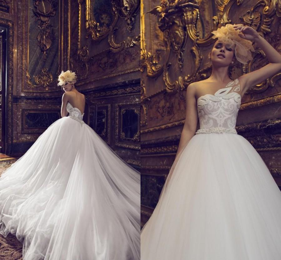 Wedding - New Arrival 2016 Wedding Dresses Israel Nurit Hen One Shoulder Beading Pearls Tulle Beautiful Bridal Ball Gowns with Monarch Chapel Train Online with $129.95/Piece on Hjklp88's Store
