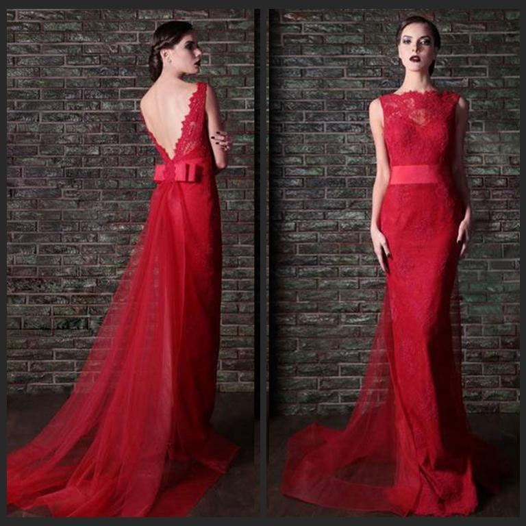 7bd62453a2c Sexy Red Lace Mermaid Evening Dresses with Sheer Scoop Neck Sash Sleeveless  Backless Trumpet Tulle Long Prom Party Formal Gowns Custom Online with ...
