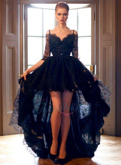 2015 Style Navy Blue High Low Evening Dresses Sexy Prom Gown With Half Sleeves Lace Party Dress
