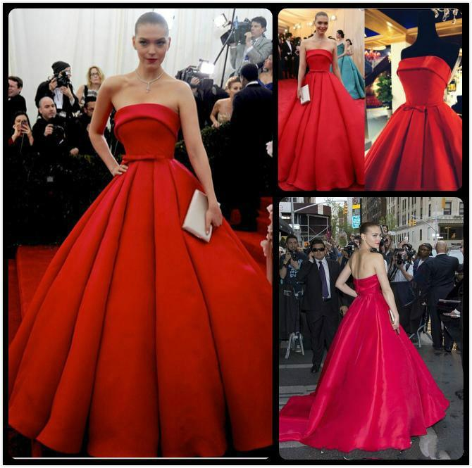 Elegant Arizona Muse Evening Dresses Red Carpet Celebrity 2017 Satin Sash A Line Train Long Prom Party Strapless Ball Gown Formal Online With