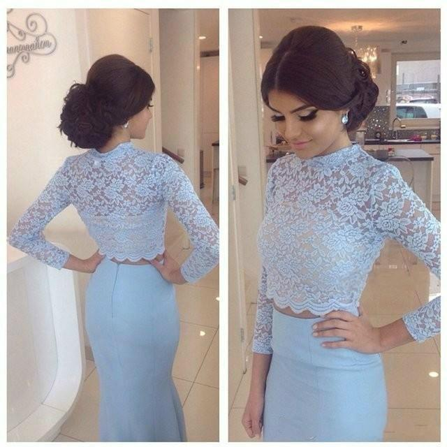 Sexy Two Pieces Long Sleeves Lace Evening Dresses Mermaid Satin Sheer  Illusion Sweep Train High Neck Prom Gowns Formal Long Party Wear Online  with ... 34b6341d981f