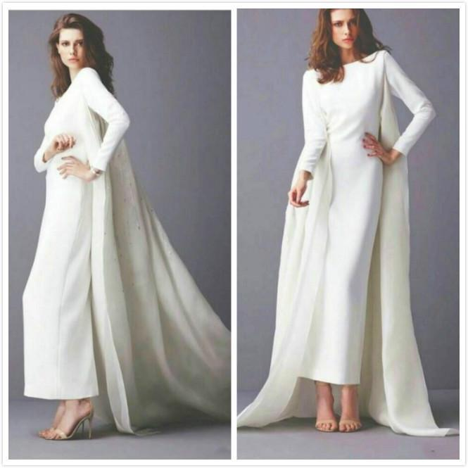 Unique style arabic wedding dresses with long sleeves wrap for Crew neck wedding dress