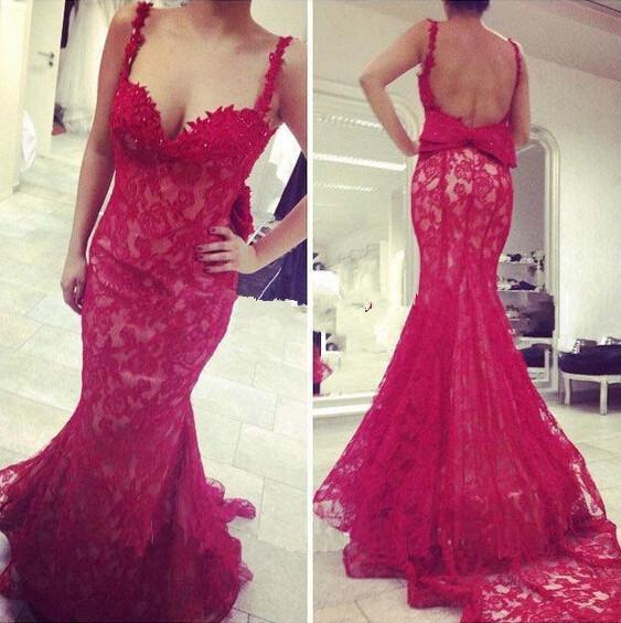Backless Mermaid Prom Dresses with Ties
