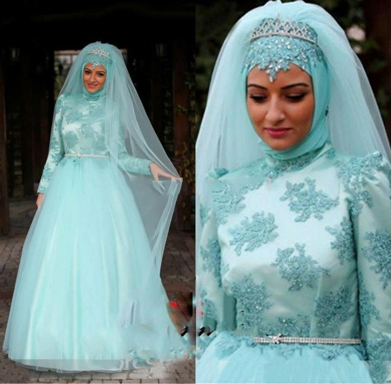 Romantic Muslim Wedding Dresses 2015 A Line Arabic Gown Beaded Sash ...