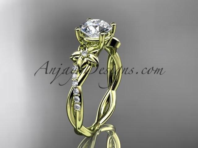 Hochzeit - 14kt yellow gold flower diamond wedding ring, engagement ring ADLR388