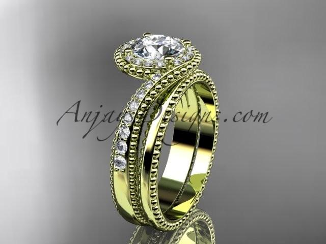 Mariage - Spring Colle14kt yellow gold halo diamond engagement set ADLR379Sction, Unique Diamond Engagement Rings,Engagement Sets,Birthstone Rings - 14kt yellow gold halo diamond wedding ring
