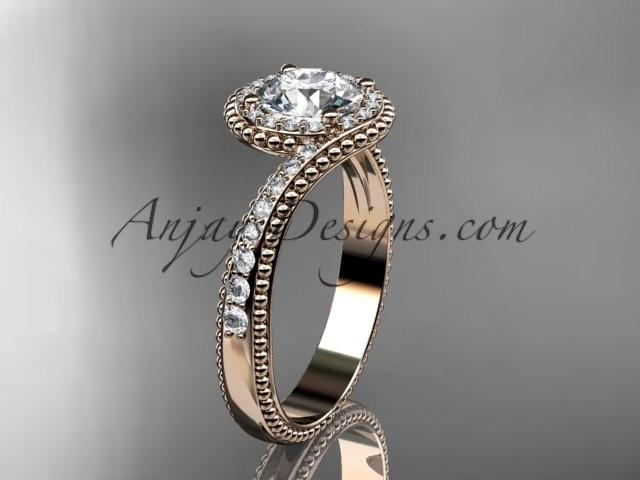 "Wedding - 14kt rose gold halo diamond engagement ring with a ""Forever One"" Moissanite center stone ADLR379"