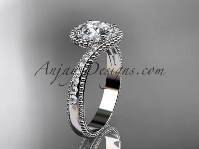 "Wedding - platinum halo diamond engagement ring with a ""Forever One"" Moissanite center stone ADLR379"