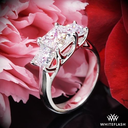 "زفاف - Platinum ""Trellis"" 3 Stone Engagement Ring For Princess *Setting Only"