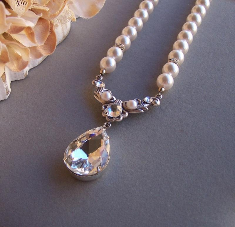 Wedding - Bridal Rococo Style Necklace, Swarovski Pearl Necklace, Vintage Style Necklace
