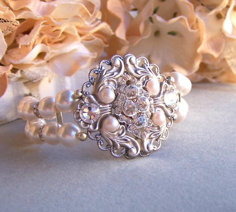Hochzeit - Bridal Rococo Style Cuff Bracelet, Swarovski Pearl Bracelet, Vintage Style Bracelet