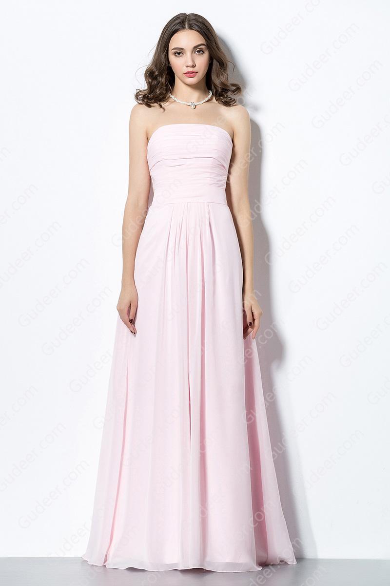 Simple Pink Straight Across Long Chiffon Bridesmaid Dress