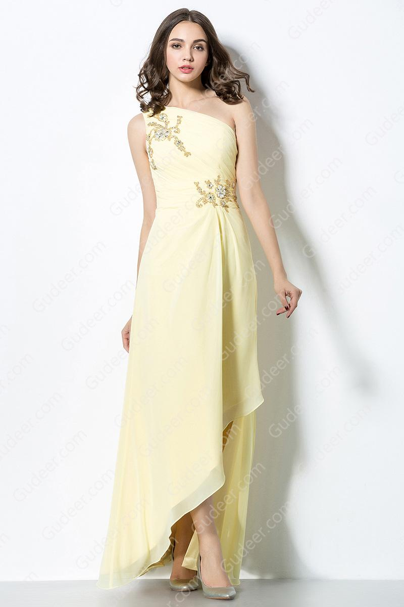 Mariage - Glamour Asymmetrical One Shoulder High Low Chiffon Bridesmaid Dress with Embroidered Lace