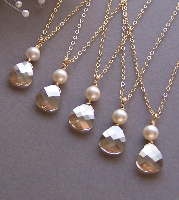 Hochzeit - Bries Bridesmaids Necklace,Five (5) Necklaces, Champagne Swarovski Crystal, Custom Crystal Necklace, Bridal Jewelry, Pearl Necklace