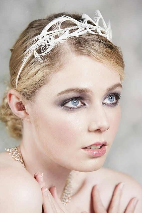 Mariage - Bridal Headband, Headpiece, Tiara, Crown With Ostrich Feathers, Simple And Stylish Headband For A Bride