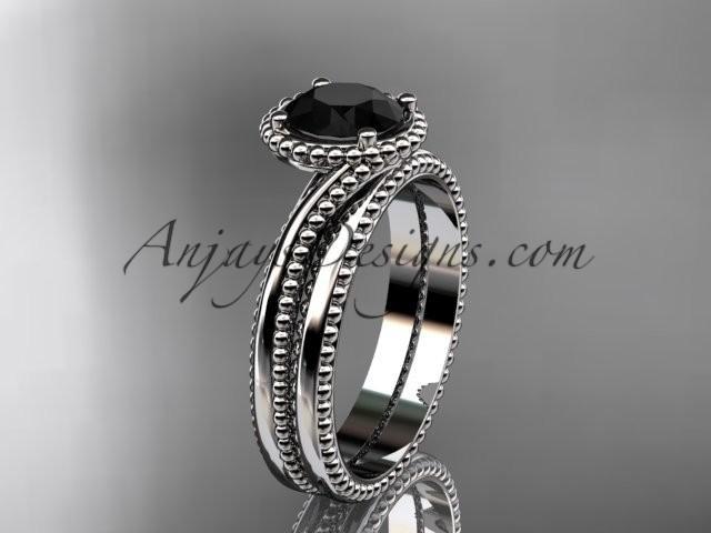 Hochzeit - 14kt white gold wedding ring, engagement set with a Black Diamond center stone ADLR389S