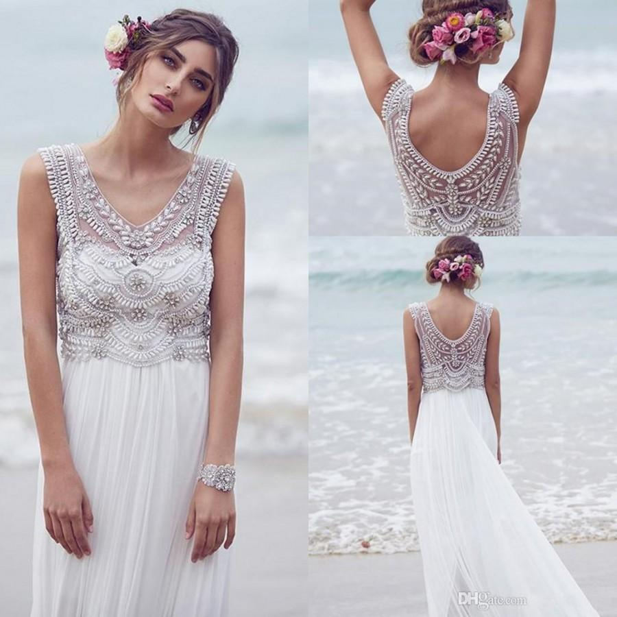 Bohemian custom made anna campbell 2016 wedding dresses beading bohemian custom made anna campbell 2016 wedding dresses beading crystals sleeveless chiffon beach floor length luxury boho bridal dress online with ombrellifo Images