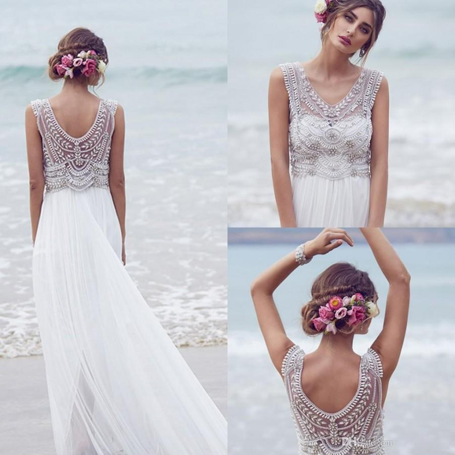 Anna campbell 2016 wedding dresses beading crystals for Beach chiffon wedding dress