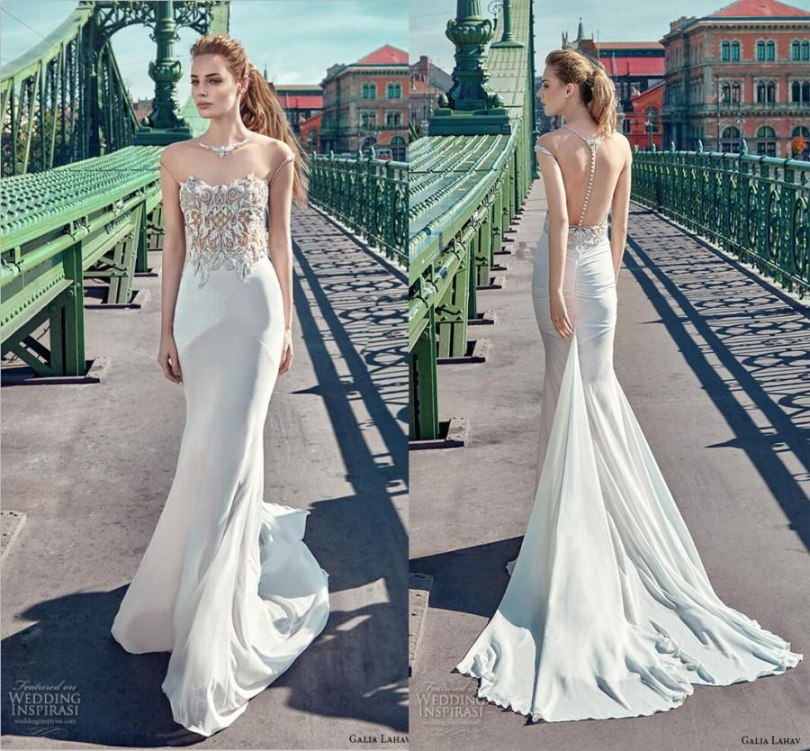 New Y See Through Galia Lahav Mermaid Wedding Dresses Crystal Beads Chiffon Illusion Sheer Backless Dress Gown Online With 108 85 Piece On
