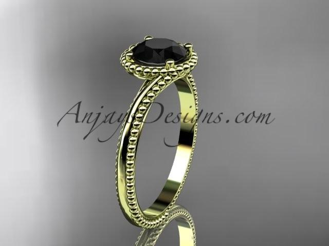 Hochzeit - 14kt yellow gold wedding ring, engagement ring with a Black Diamond center stone ADLR389