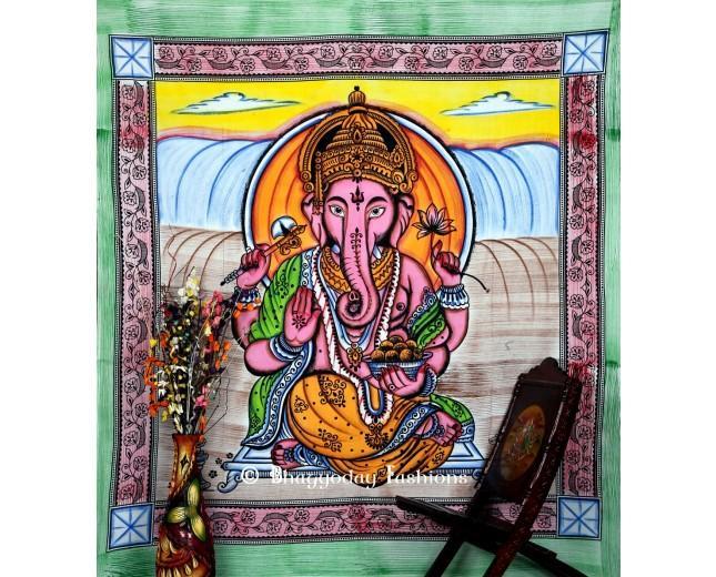 Hochzeit - Lord Ganesha Print Mandala Bohemian Tapestry