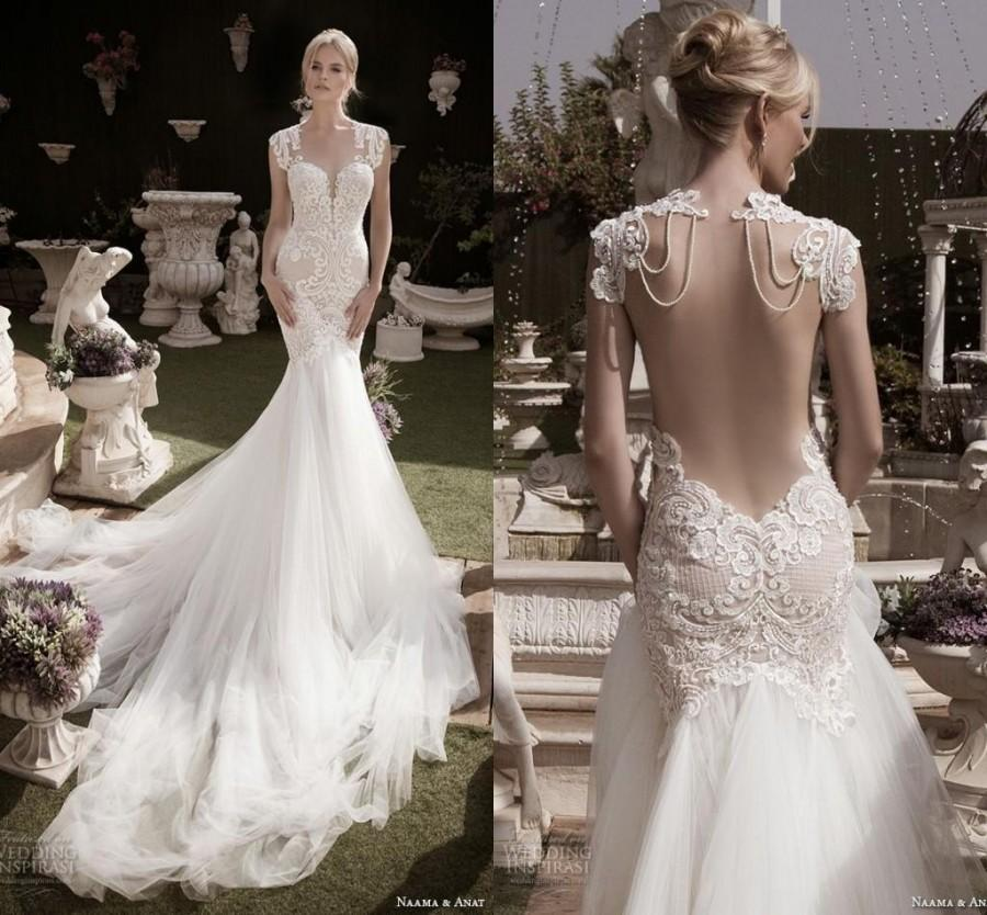 Wedding - 2016 Sexy Mermaid Backless Lace Naama & Anat Wedding Dresses Tulle Beads Garden Cap Sleeve Sweetheart Chapel Train Trumpet Bridal Gowns Online with $132.62/Piece on Hjklp88's Store