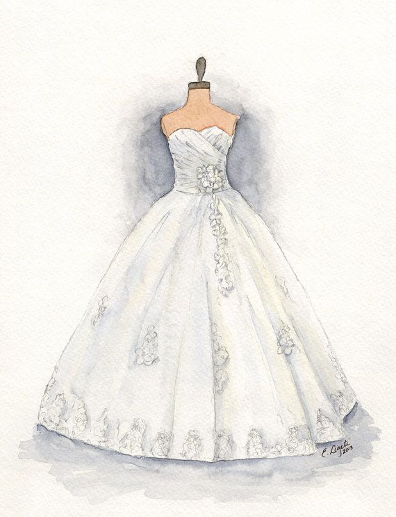 Custom Wedding Dress Painting Matted Watercolor Bridal Gift Portrait ...