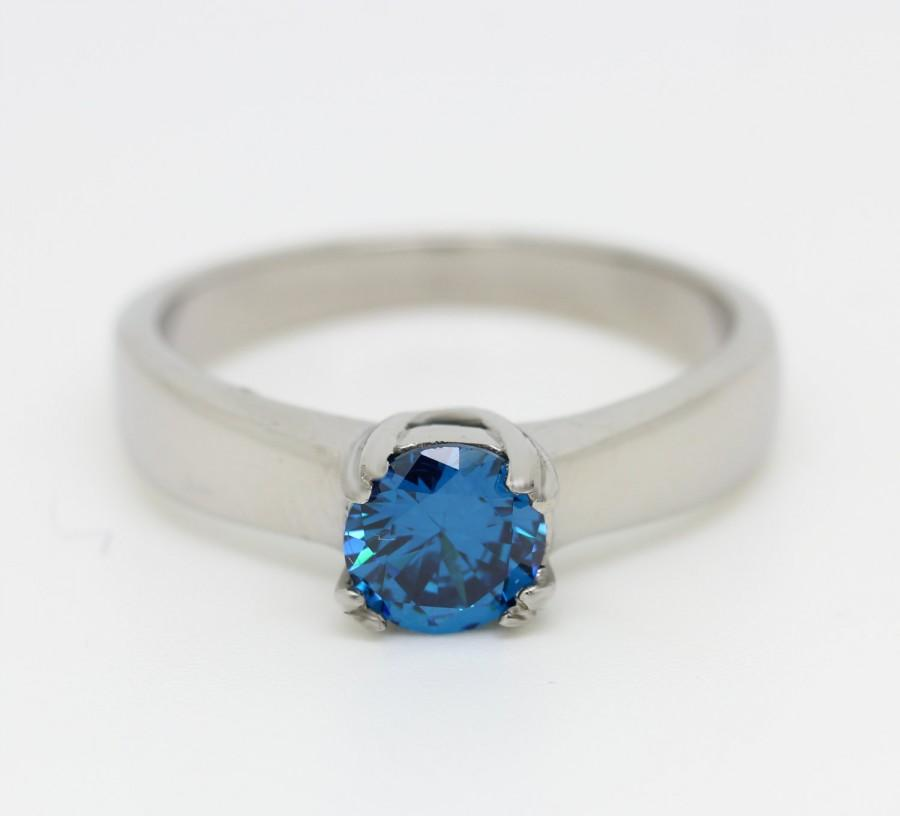 Mariage - London Blue Topaz 1ct solitaire ring in Titanium, Silver or White Gold - engagement ring - wedding ring - handmade ring