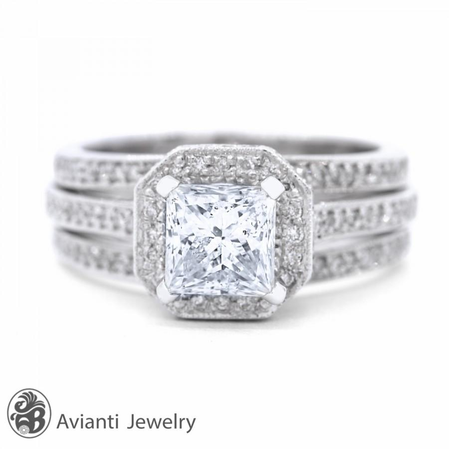 Mariage - Ring, Three Row Pave Diamond Engagement Ring, Princess Diamond Engagement Ring, Three Row Engagement Ring, Milligrain Ring