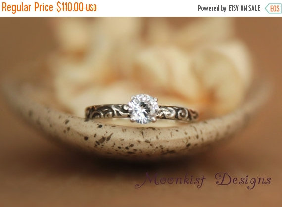 Mariage - ON SALE Romantic White Sapphire Smoke Swirl Engagement Ring in Sterling Silver - Pattern Band - Commitment Ring, Promise Ring