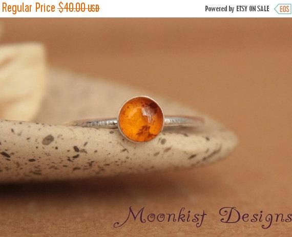 زفاف - ON SALE Delicate Amber Promise Ring or Engagement Ring - Amber Bezel-Set Solitaire in Sterling - Unique Engagement Ring