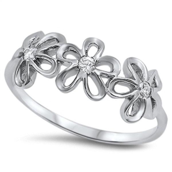 زفاف - Solid 925 Sterling Silver Three Plumeria Ring Round Russian Ice Diamond CZ Plumeria Band Fashion Plumeria Flower Ring Lovely Gift