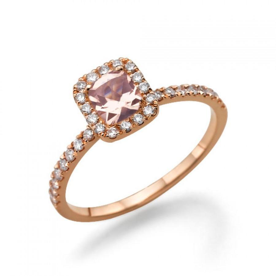 Rose Gold Morganite Engagement Ring 14K Rose Gold Ring Cushion Halo Engagem