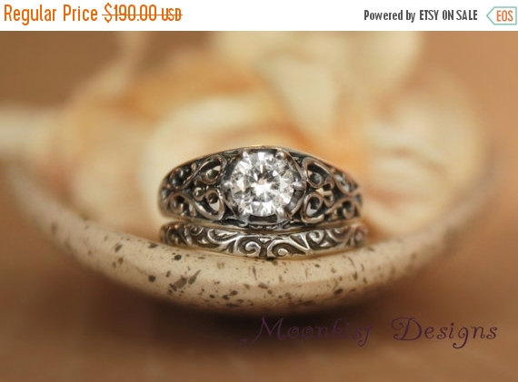 Mariage - ON SALE Wide White Sapphire Filigree Ring Set with Smoke Swirl Band in Sterling Silver - Engagement Ring Set, Promise Ring Set, Wedding Ring