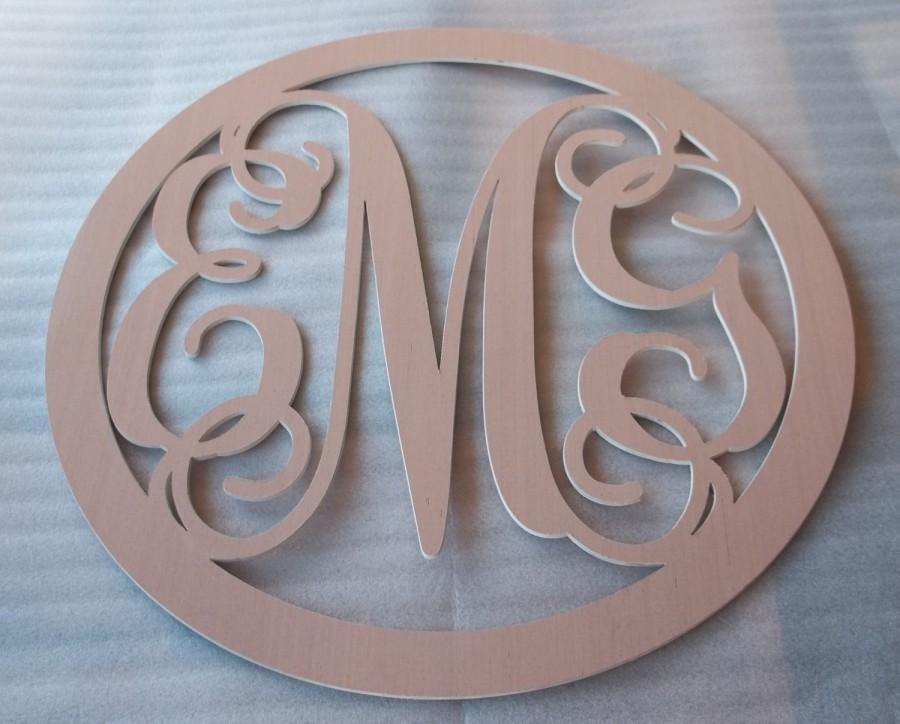 monogram 3 letter circle circle letter custom wood letter 24 x 24